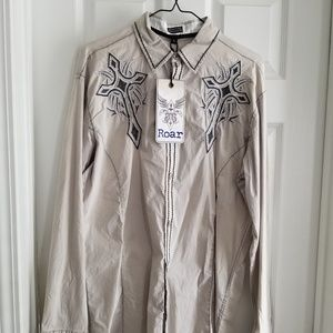 Roar Button Down Long Sleeve Shirt